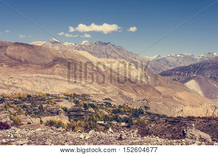 Arrid mountain wasteland. Muktinath region under Thorong La pass.