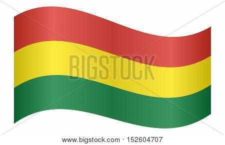 Bolivian national official flag. Patriotic symbol banner element background. Correct colors. Flag of Bolivia waving on white background vector illustration