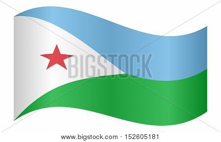 Djiboutian national official flag. Patriotic symbol banner element background. Correct colors. Flag of Djibouti waving on white background vector illustration