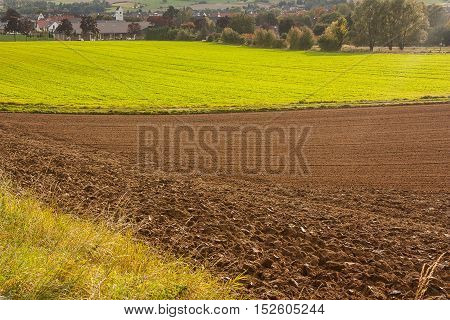 A view on the agricultural fields in Bad Pyrmont Germany.