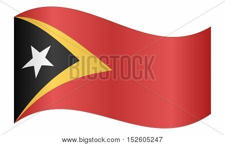 East Timorese national official flag. Patriotic symbol banner element background. Correct colors. Flag of East Timor waving on white background vector illustration