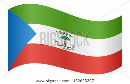 Equatorial Guinean national official flag. African patriotic symbol banner element background. Correct colors. Flag of Equatorial Guinea waving on white background vector illustration