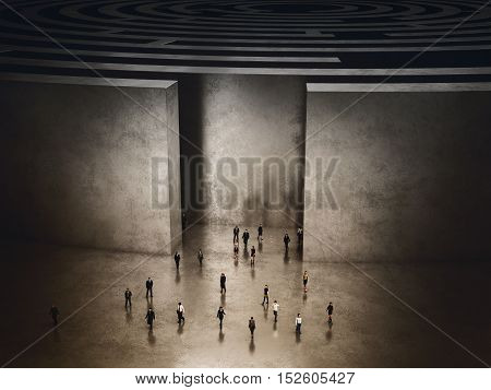 People coming out of a complicated maze. 3D Rendering