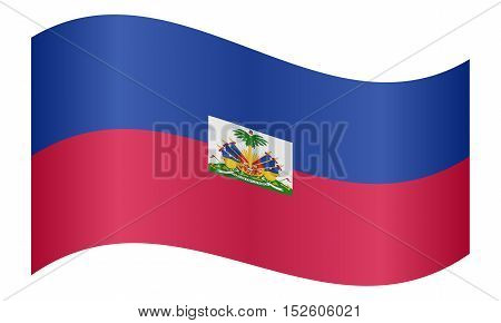 Haitian national official flag. Patriotic symbol banner element background. Correct colors. Flag of Haiti waving on white background vector illustration
