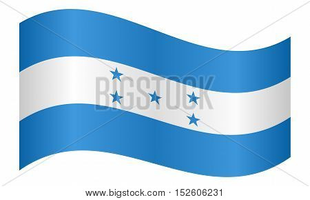 Honduran national official flag. Republic of Honduras patriotic symbol banner element background. Correct colors. Flag of Honduras waving on white background vector illustration