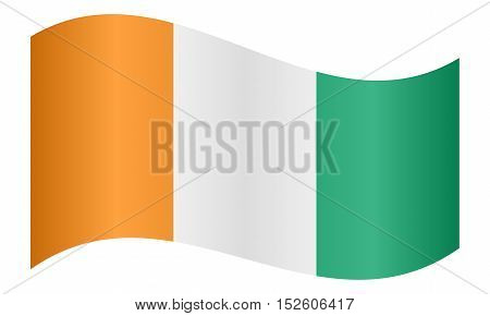 Cote D Ivoire national official flag. African patriotic symbol banner element background. Correct colors. Flag of Ivory Coast waving on white background vector illustration