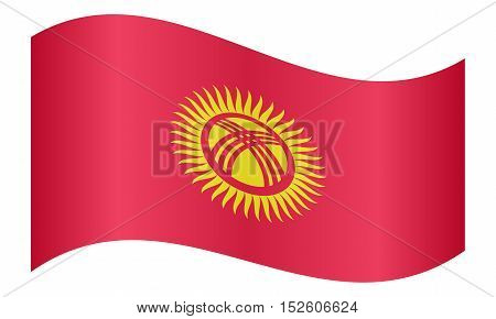 Kyrgyzstani national official flag. Patriotic symbol banner element background. Correct colors. Flag of Kyrgyzstan waving on white background vector illustration