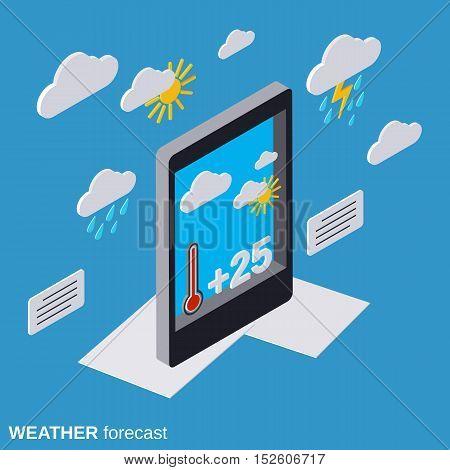 Mobile weather forecast flat isometric vector illustration