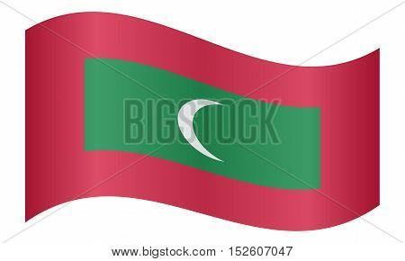 Maldivian national official flag. Patriotic symbol banner element background. Correct colors. Flag of Maldives waving on white background vector illustration