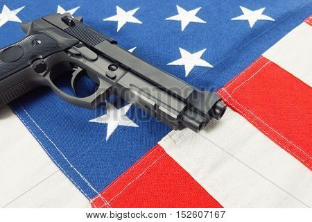Ruffled Cotton Flag With Hand Gun Over It Series - United States Of America