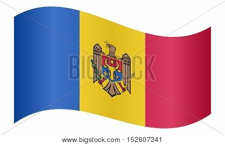 Moldovan national official flag. Patriotic symbol banner element background. Correct colors. Flag of Moldova waving on white background vector illustration