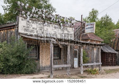 SCENIC SD - SEPTEMBER 21, 2016: Abandoned Longhorn Saloon in the ghost town of Scenic South Dakota