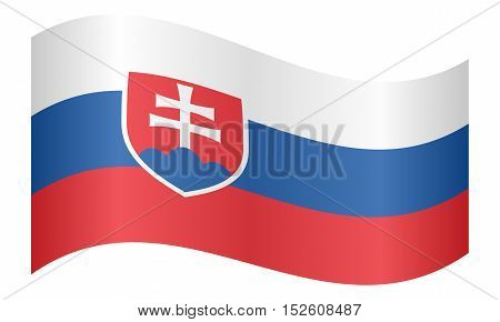 Slovakian national official flag. Patriotic symbol banner element background. Correct colors. Flag of Slovakia waving on white background vector illustration