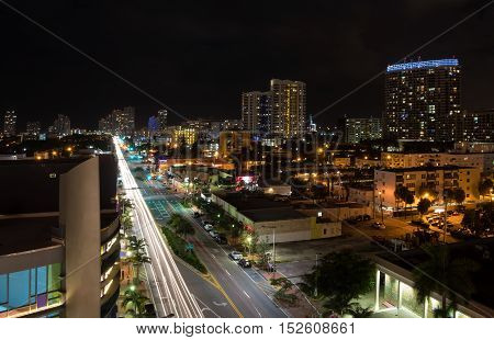 Long exposition night shot of Alton Rd. in Miami Beach Florida with camera pointed to south.