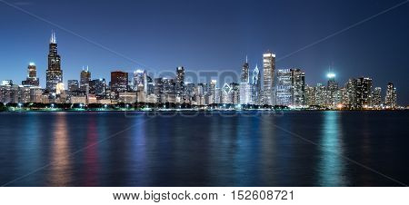 Downtown Chicago Night Skyline across Lake Michigan