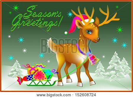 Christmas greeting card with funny fawn, vector cartoon image.