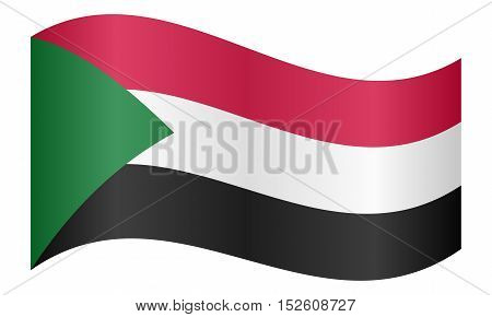Sudanese national official flag. African patriotic symbol banner element background. Correct colors. Flag of Sudan waving on white background vector illustration
