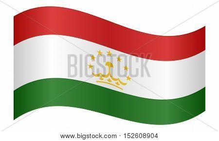 Tajikistani national official flag. Patriotic symbol banner element background. Correct colors. Flag of Tajikistan waving on white background vector illustration