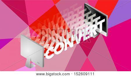 Convert Word Design Graphic Concept