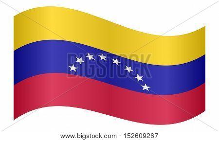 Venezuelan national official flag. Bolivarian Republic of Venezuela patriotic symbol banner element background. Correct colors. Flag of Venezuela waving on white background vector illustration