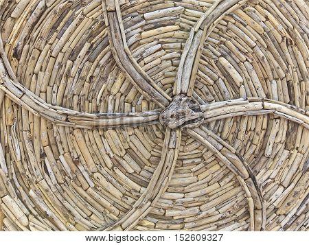 Wooden handmade, drift wood design chair background