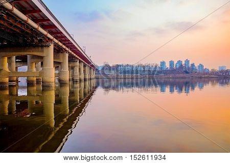 bridge at sunset in the Han river in Seoul