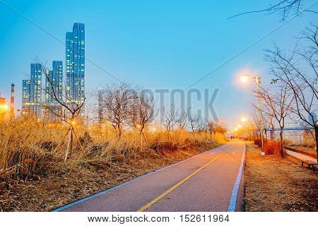 Cycling path along the Han river at night in Seoul