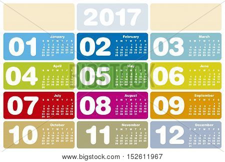 Colorful Calendar for Year 2017 in vector format.