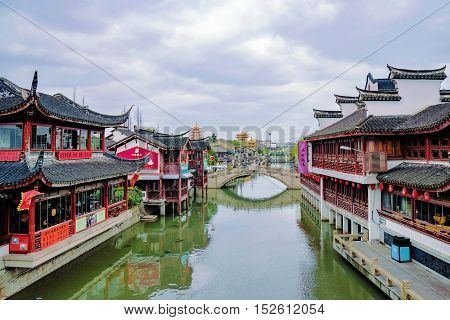 Shanghai China - March 09 2016: Newly restored buildings in traditional style in Qibao ancient water town which is a popular tourist destination in Shanghai.