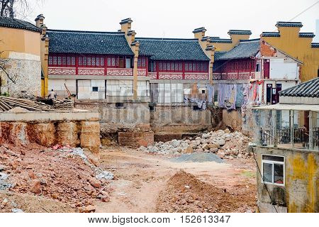 Ancient temple architecture being rebuilt in China
