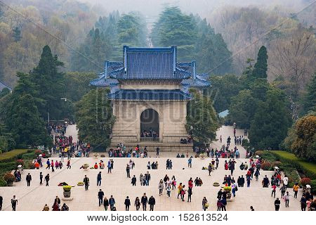 NANJING CHINA- MARCH 18: Purple mountain is a tourist area in Nanjing. Many tourists come here to see Sun Yat-Sen memorial hall on March 18 2016 in Nanjing.