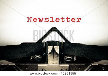 Typewriter written message with the word  Newsletter
