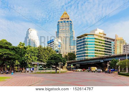 BANGKOK - SEPTEMBER 14: Hotel area in downtown Bangkok with Silom station in the foreground. Silom is a central business area which also attracts many foreign tourists in Bangkok on September 14 2014 in Bangkok.