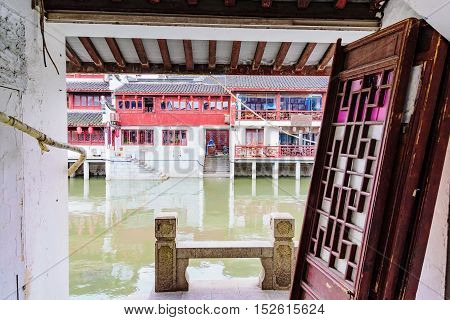 Doors in an old chinese water town in Shanghai