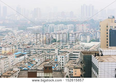 Polluted urban landscape architecture in Nanjing China