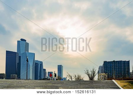SEOUL SOUTH KOREA JANUARY 06: Han river park with Yeouido financial district in the background during sunset on January 06th 2016 in Seoul