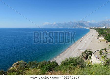 Konyaalti Beach seen from the Cliffs of Antalyas Oldtown Kaleici