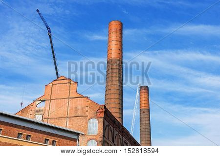 Battersea power station isolated with blue sky