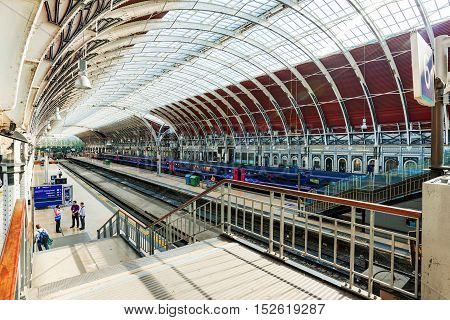 LONDON - SEPTEMBER 08: This is the interior architecture of Paddington station from the stairs where you are able to see a view of the whole station September 8th 2016 in London
