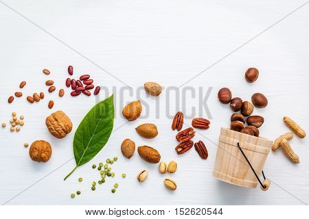 Selection Food Sources Of Omega 3 And Unsaturated Fats. Various Legumes And Different Kinds Of Nuts