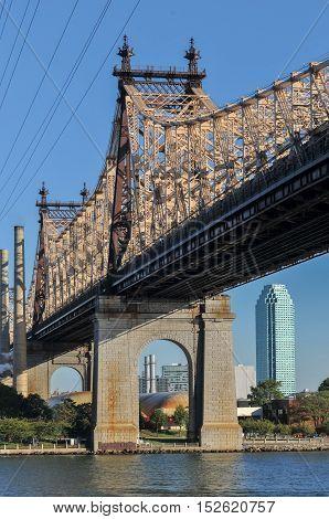 Queensboro (Ed Koch/59th Street) Bridge as seen from Manhattan unto Queens.