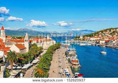 TROGIR CROATIA - SEPTEMBER 18: Trogir old town UNESCO world heritage site waterfront promenade on a sunny day September 18 2016 in Trogir