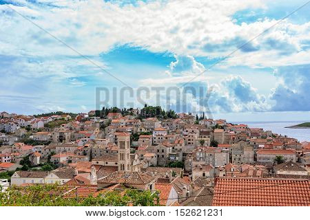 Scenic View of Hvar old town architecture