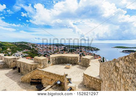 Spanjola fortress ancient architecture with Hvar island view