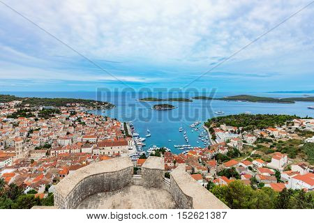 High view of Hvar Island from Spanjola fortress