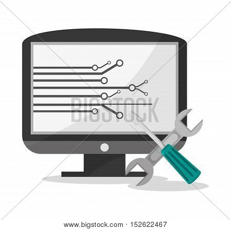 Computer and tools icon. Social media marketing communication theme. Colorful design. Vector illustration