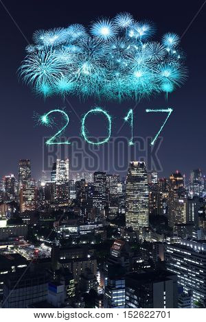 2017 Happy New Year Fireworks Over Tokyo Cityscape At Night, Japan
