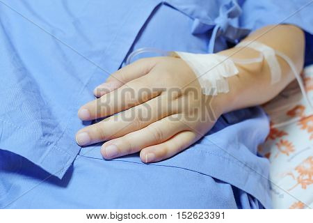 Saline Intravenous (iv) Drip In A Women Patient Hand