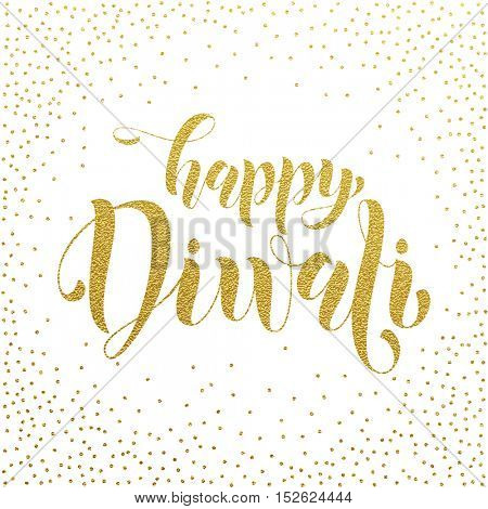 Happy Diwali gold glittering text. Diwali or Deepavali festival holiday vector banner on white background. Diwali indian hindu festival of lights.