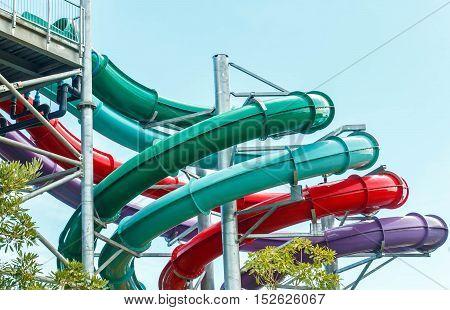 Waterpark in luxury tropical resort, water slide